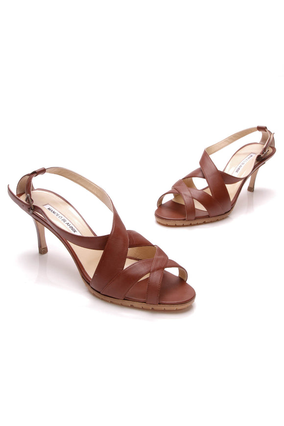 Manolo Blahnik Crisscross Sandals Citronesa Leather Size 38.5 Brown