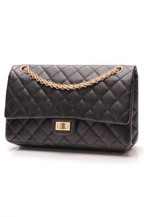 Chanel 2.55 Reissue Classic Flap Bag 226 Caviar Leather Black