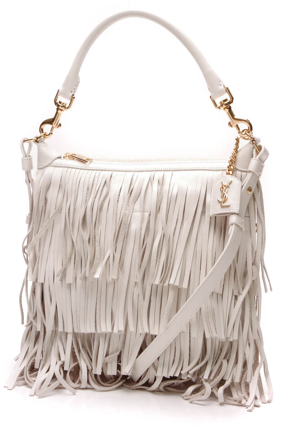 Saint Laurent Small Fringe Emmanuelle Bag Porcelain