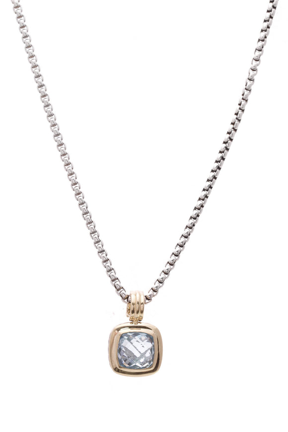 David Yurman Blue Topaz 14mm Albion Necklace Silver Gold