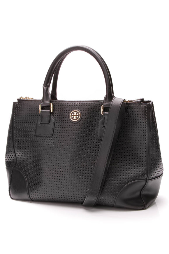 Tory Burch Robinson Double Zip Tote Bag Perforated Saffiano Leather Black