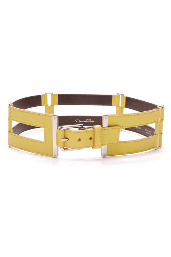 Oscar de la Renta waist belt yellow leather