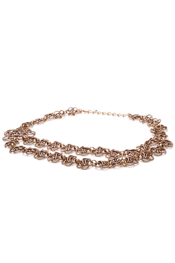 Oscar de la Renta double chain belt bronze