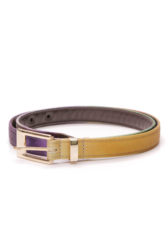 Oscar de la Renta skinny belt silk leather multicolor
