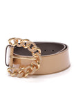 Valentino Chain Buckle Belt Beige Patent Leather