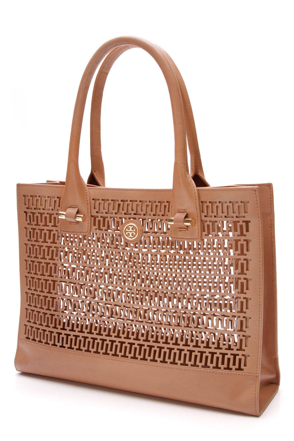 Tory Burch Ella Laser Cut tote bag tan
