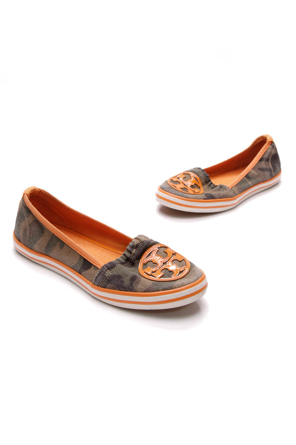 Tory Burch Camouflage slip-on sneakers canvas green orange