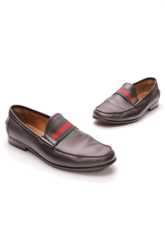 Gucci Web Men's Loafers Leather Black