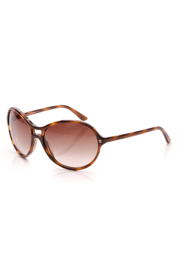 Chanel CC Logo Round Sunglasses Tortoise Brown