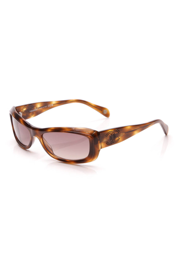 Chanel Crystal CC Sunglasses Tortoise Brown