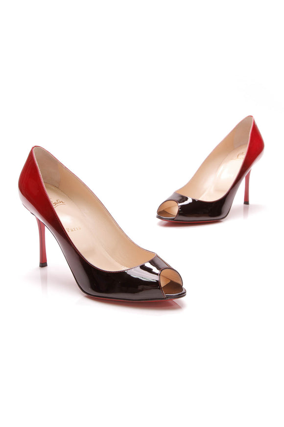 Christian Louboutin Yootish 85 Pumps Patent Leather Size 40.5 Black Red