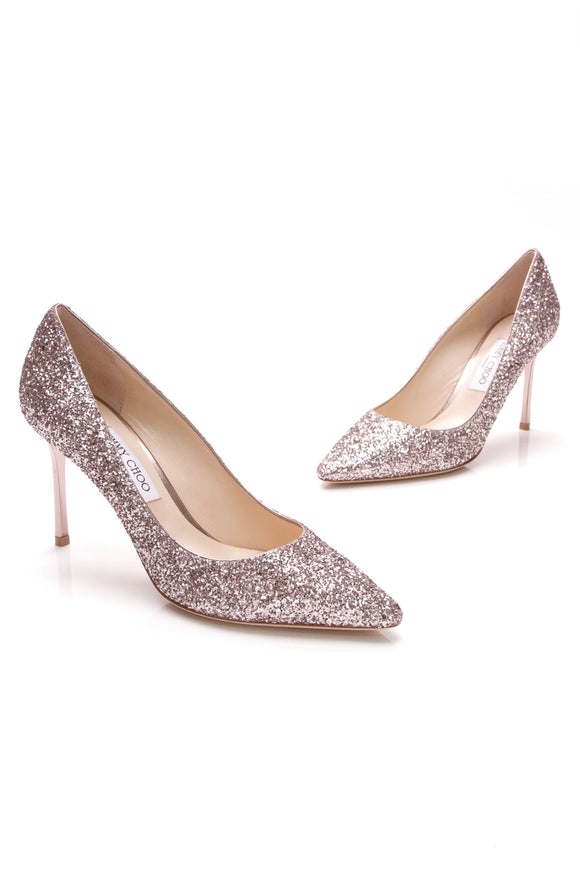 Jimmy Choo Romy Glitter Pumps Rose Size 40.5