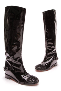 Christian Louboutin Egoutina Spiked Boots Patent Leather Size 37 Black
