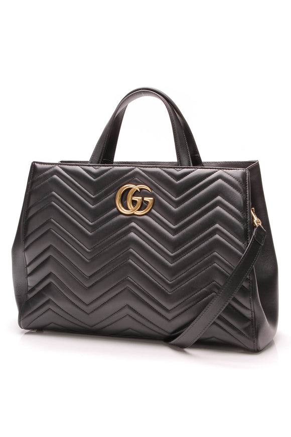 Gucci GG Marmont Medium Matclasse Top Handle Bag Black Leather