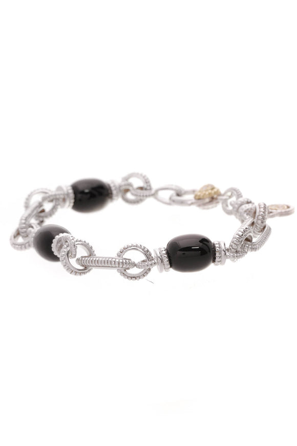 Judith Ripka Whitney Bracelet Black Onyx Diamonds Silver