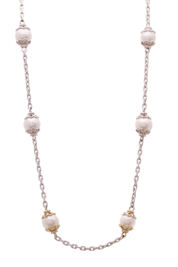 Judith Ripka Pearl Garland Chain Necklace Silver