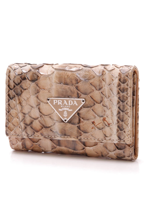 Prada 6 Key Holder Snakeskin Beige