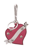 Prada Heart Key Chain Bag Charm Saffiano Leather Pink Silver