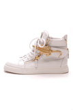 Giuseppe Zanotti London Alligator Men's High Top Sneakers White Size 38