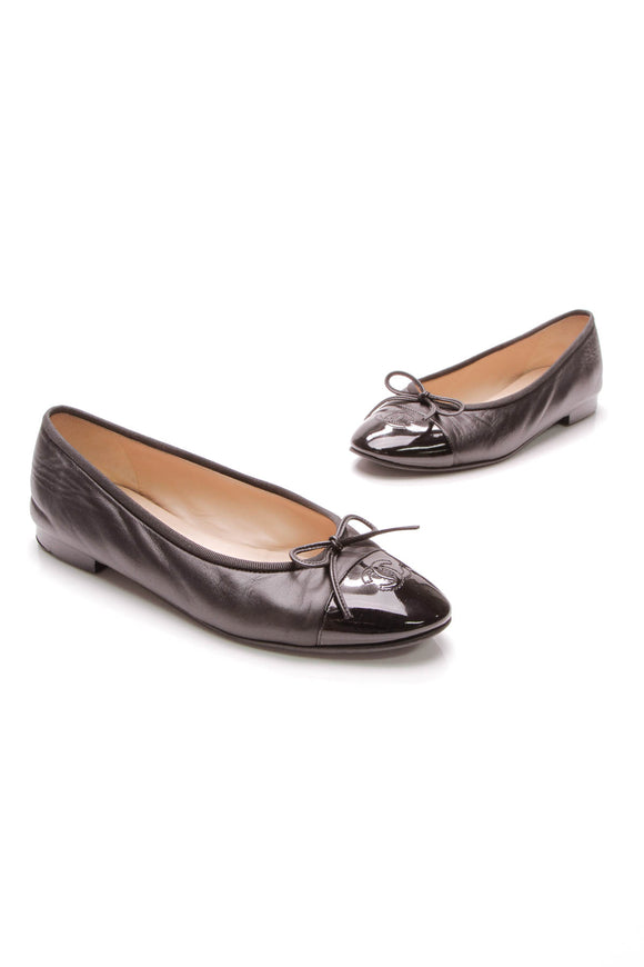 Chanel Captoe Ballet Flats Leather Size 38 Black