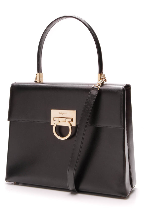 Salvatore Ferragamo Gancini Bag Calf Leather Black