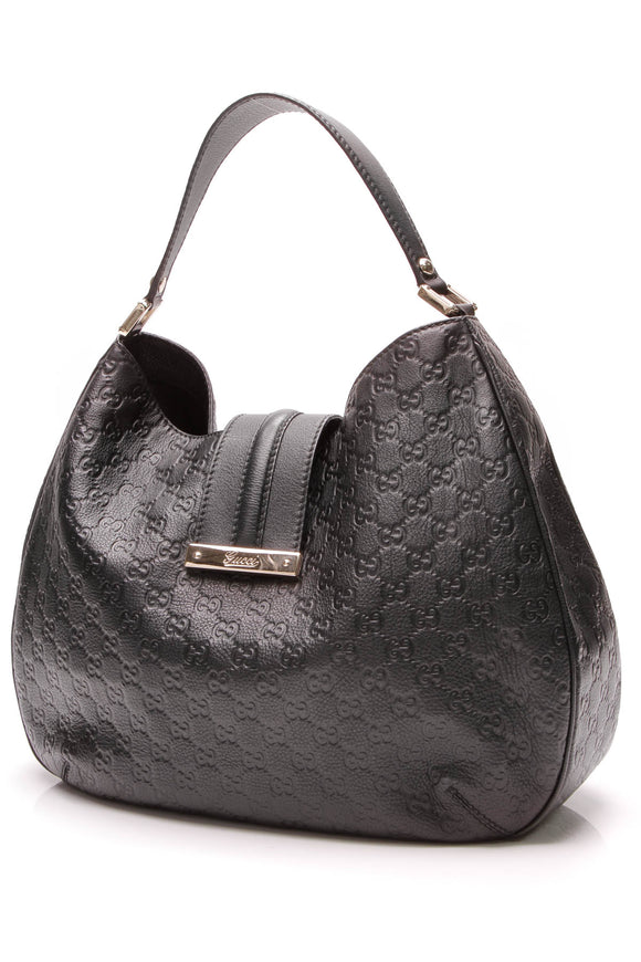 Gucci New Web Hobo Bag Black Guccissima Leather