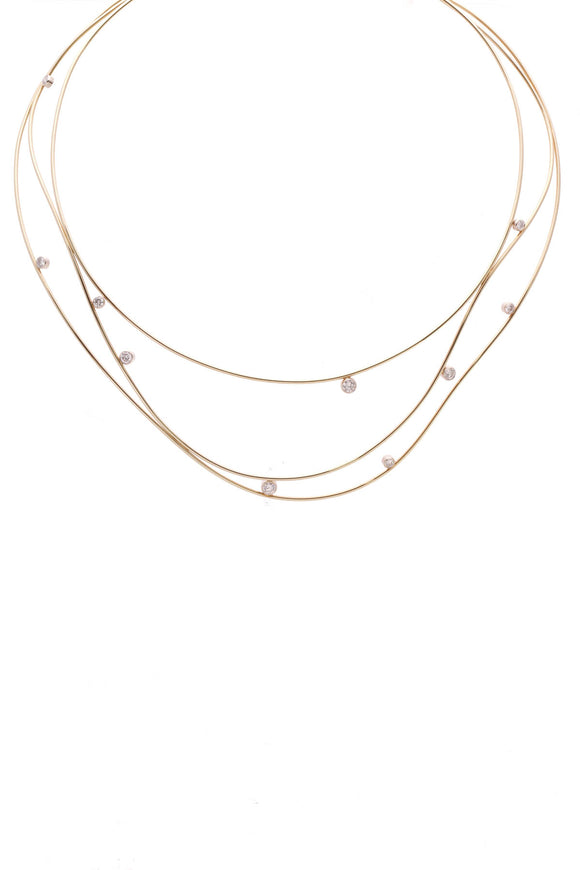 Tiffany & Co. Elsa Peretti Wave Necklace 18K Gold Diamond
