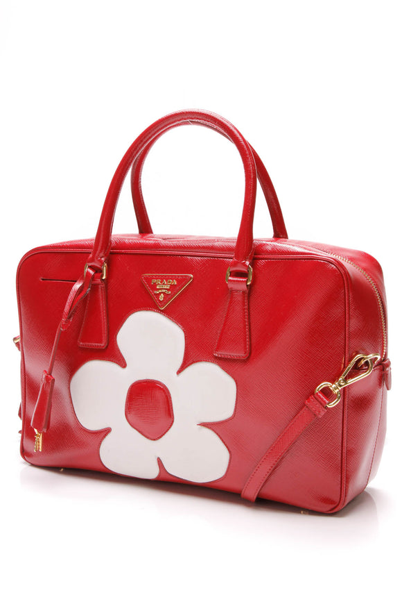 Prada Bauletto Flower Satchel Bag Patent Saffiano Leather Red