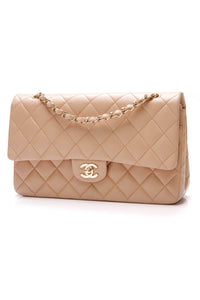 Chanel Classic Double Flap Bag Medium Lambskin Beige