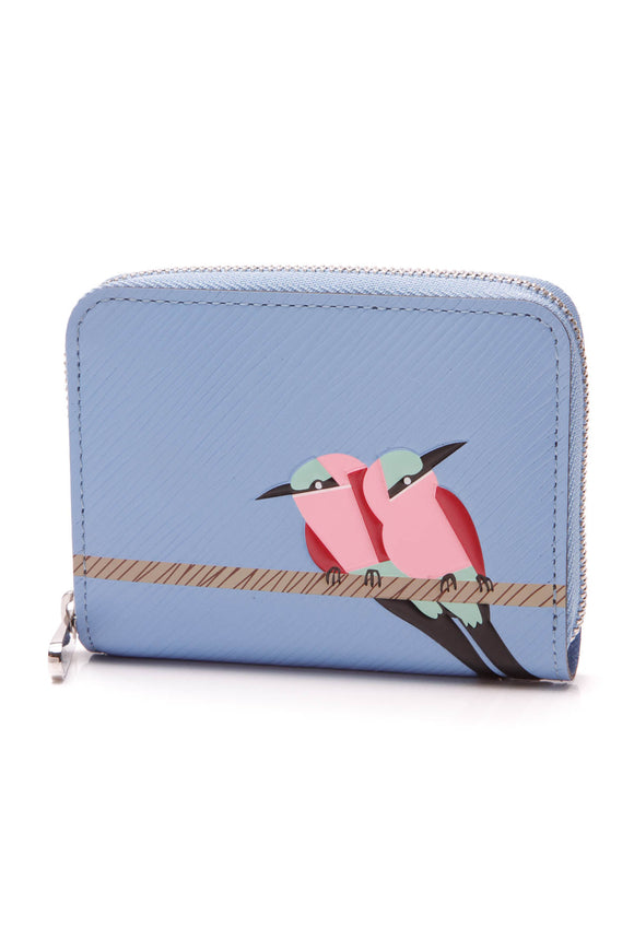 Louis Vuitton Tropical Bird Coin Purse Wallet Blue Epi Leather