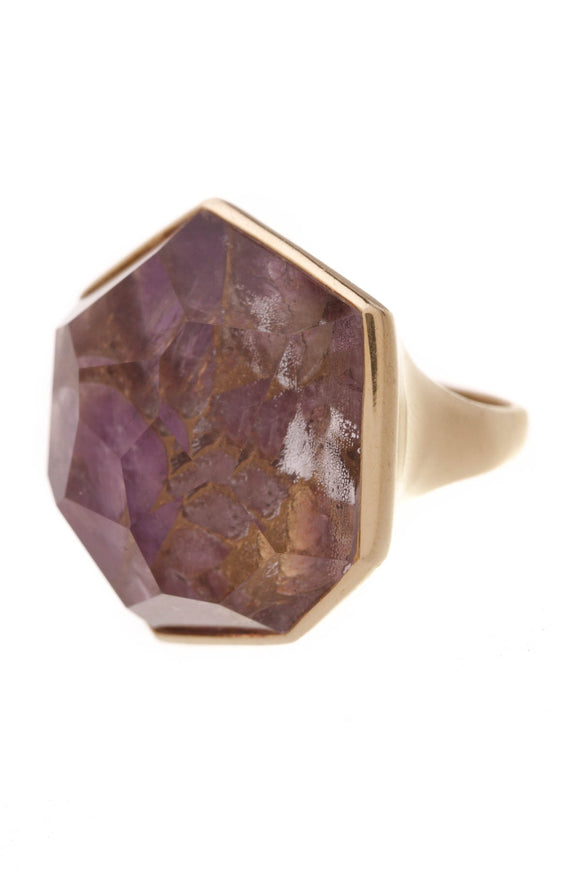Ippolita Modern Rock Candy Ring 18K Gold Size 7 Amethyst Quartz