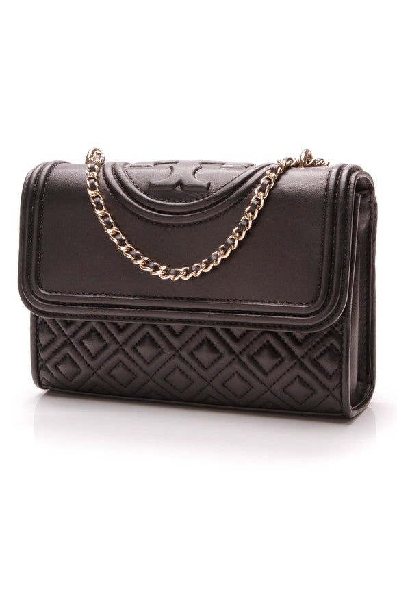 Tory Burch Fleming Small Shoulder Bag Leather Black