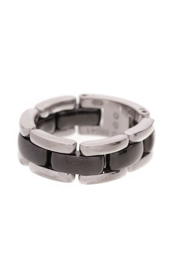 Chanel Ultra Medium Ring Size 7 18K white gold black ceramic