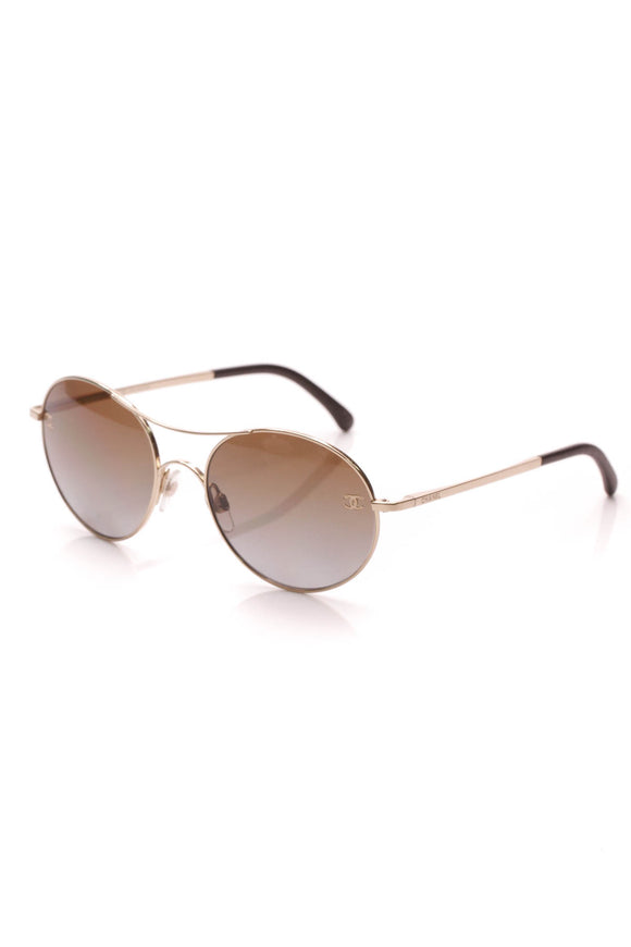 Chanel Round Polarized Sunglasses CC Gold