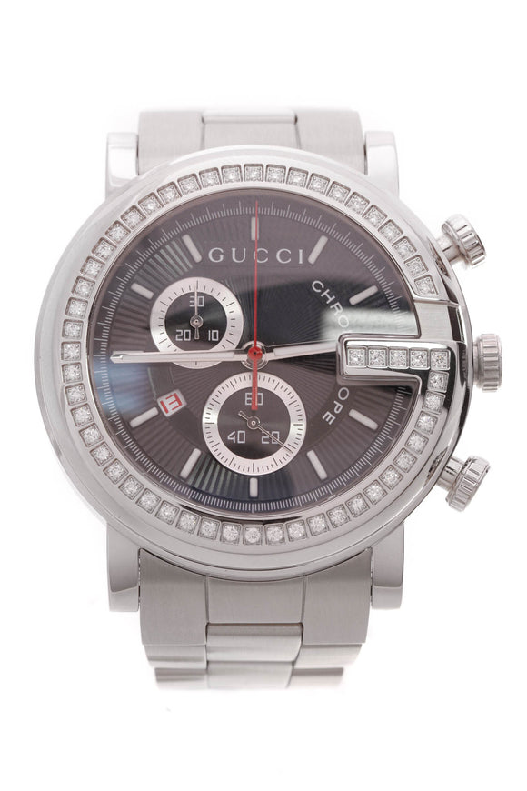 Gucci Diamond GG Chrono Watch Stainless Steel 44mm