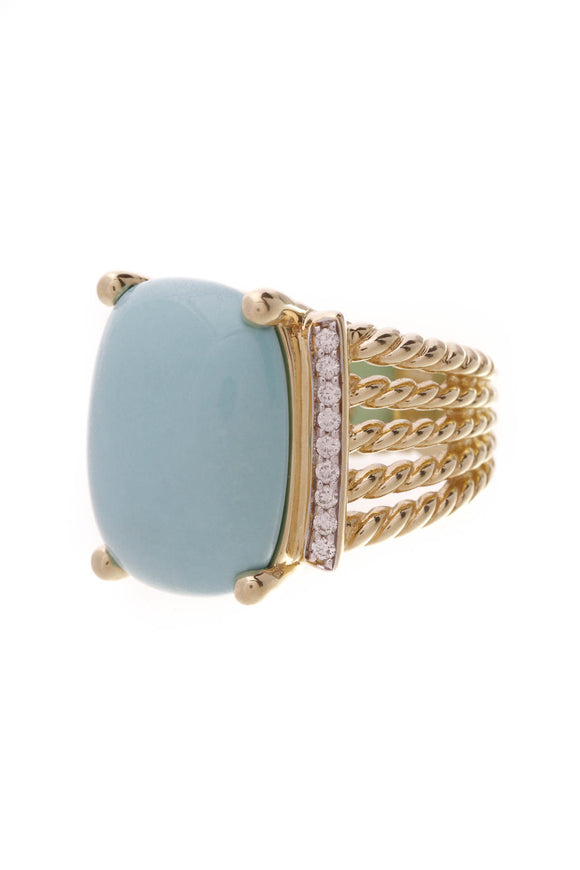 David Yurman Turquoise Wheaton Cable Ring 18K Gold Diamonds