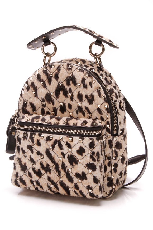 Valentino Rockstud Mini Backpack Leopard Print Calf Hair Backpack