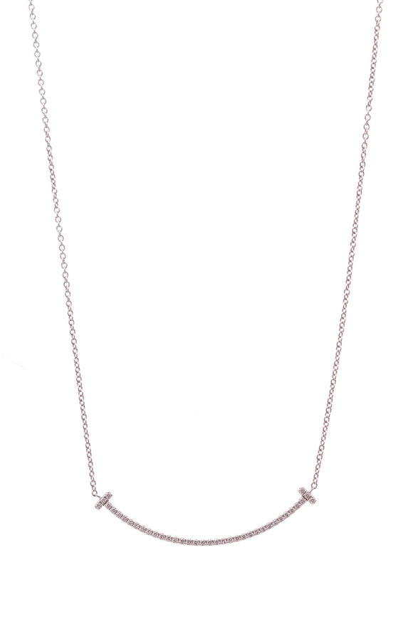 Tiffany & Co. Smile Pendant Necklace 18K White Gold & Diamond