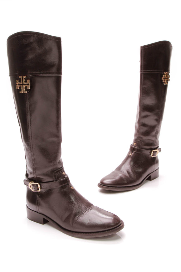 Tory Burch Eloise Riding Boots Coconut Size 7 Brown