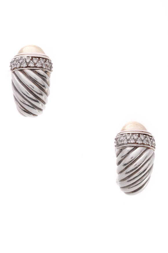 David Yurman Diamond Waverly Omega Earrings Silver Gold