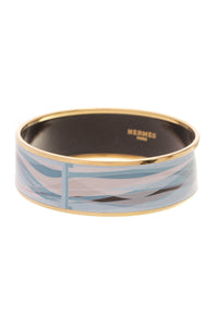 Hermes Enamel Wide Bangle Bracelet Blue Gold