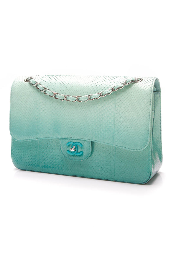 Chanel Double Flap Bag Jumbo Ombre Python Mint Teal