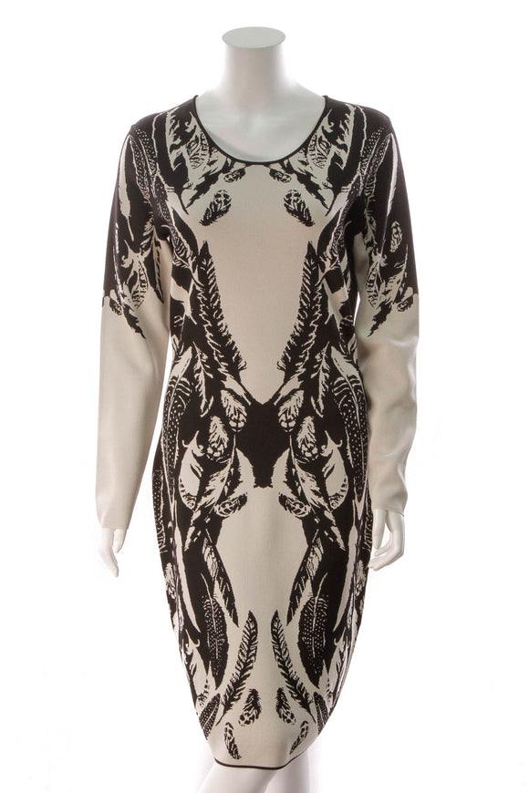 Temperley London Jacquard Plume Dress Black Oyster Gray Size XL
