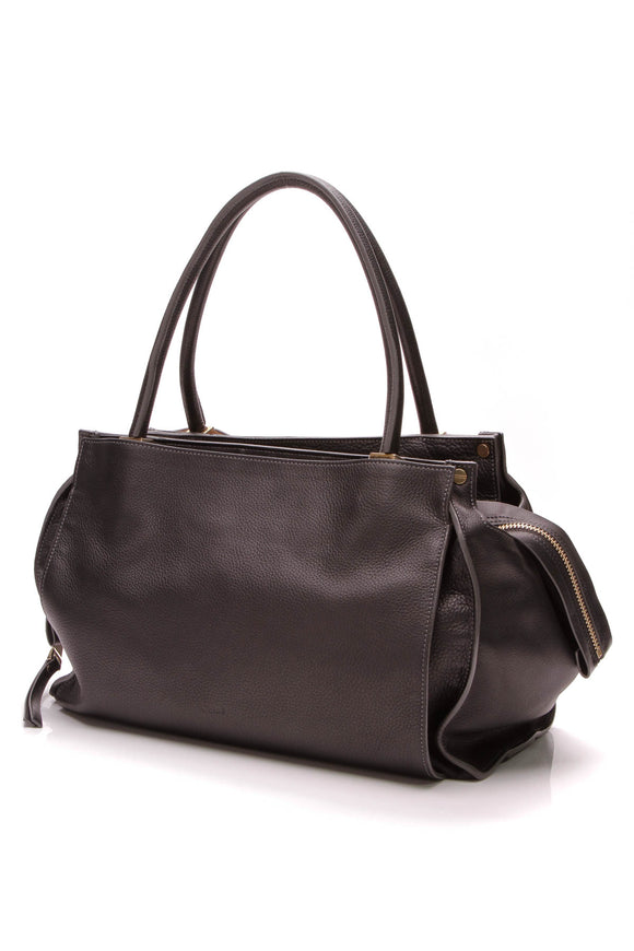 Chloe Top Handle Tote Bag Black Leather