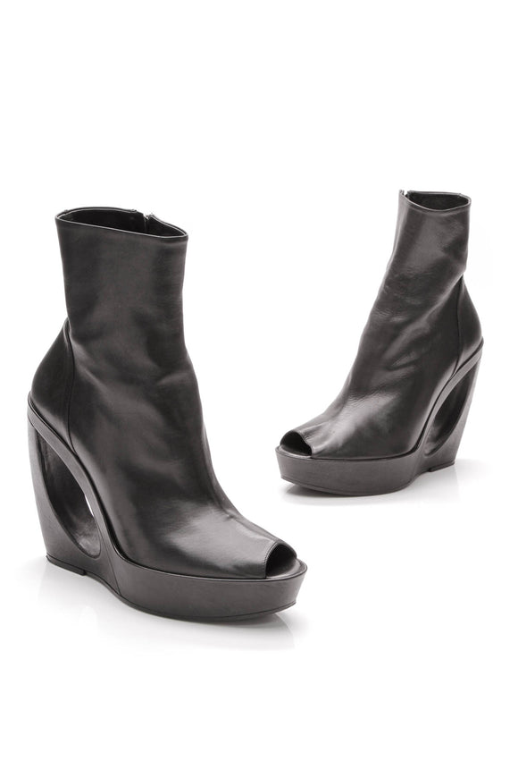 Ann Demeulemeester Cut Out Wedge Platform Booties Black Size 41