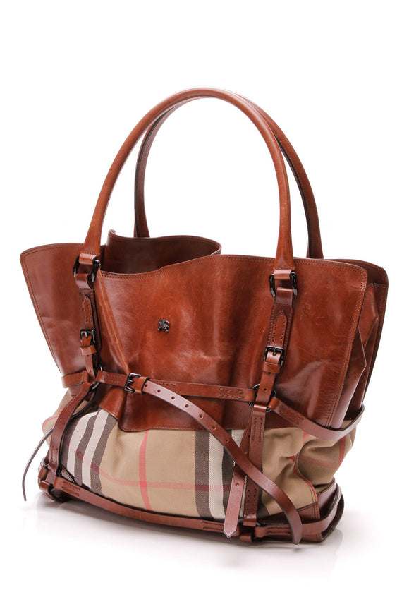 Burberry Bridle Tote Bag House Check Canvas Brown