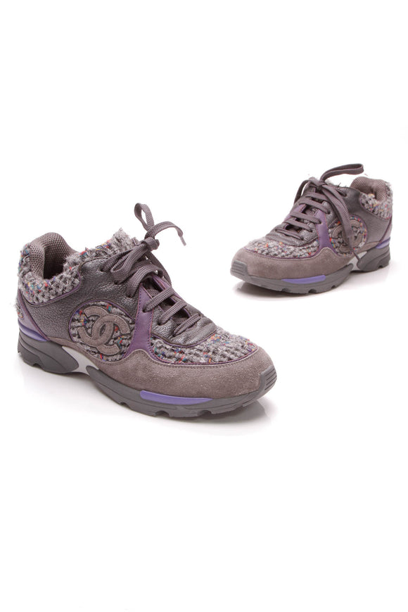 Chanel CC  Sneakers Leather Tweed Size 36 Purple Grey