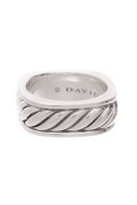 David Yurman Cable Square Band Men's Ring Sterling Silver Size 9.5