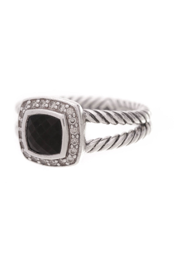 David Yurman Petite Albion Ring Onyx Diamonds Size 6.5