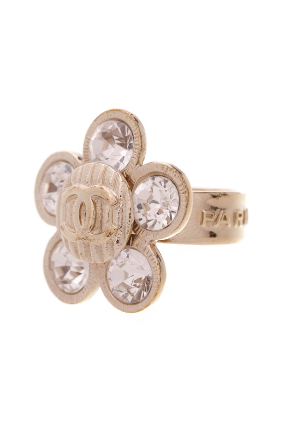 Chanel Crystal Flower CC Ring Gold Size 6.5